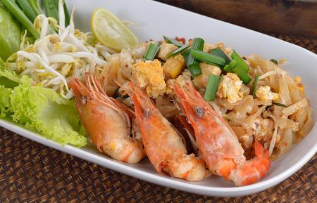 Pad thai ; Thai food isolated on a background.