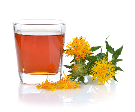 Safflower herbal tea isolated on white background.