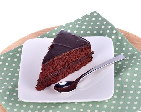 Chocolate cake isolated on background Stock Photo