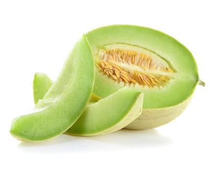 Reife Cantaloupe-Melone auf weißem Hintergrund