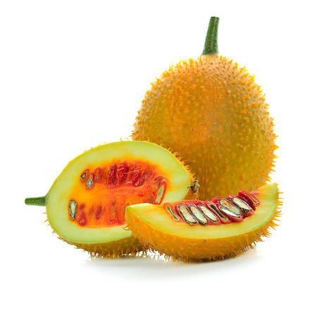 Gac fruit isolated on white background.