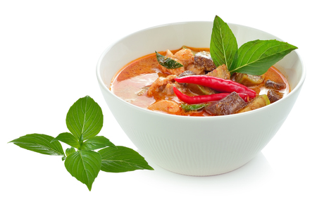 Red pork Curry on white background , Thai cuisine