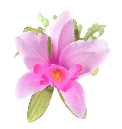 Artificial Pink Cattleya Orchid isolated on a white background.