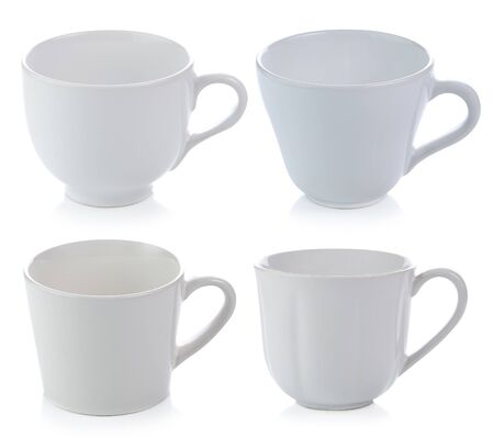 White ceramic cups isolated on white background.