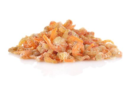 Dried shrimp isolated on a white background.