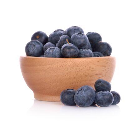 Fresh juicy blueberries isolated on white background.