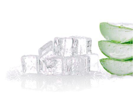 aloe vera fresh leaf and ice cubes on white background