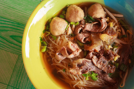 A Vintage noodle with meatballs , Braised Beef and Thicken Soup in thai style food