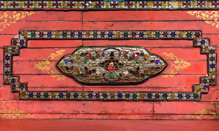 Old wooden ceiling of cathedral at wat nantraram, phayao, thailand photo
