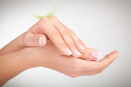 manicure and pedicure: Woman s french manicure