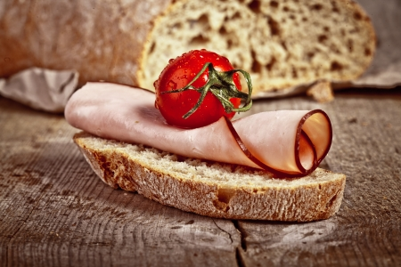 bread with sliced pork ham photo