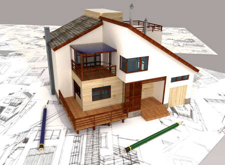 Three-dimensional model of individual house and pencil sketches photo