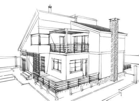 architectural exterior: Sketch of a residential house on white background Stock Photo