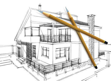 Three-dimensional model of pencils lying on sketch photo