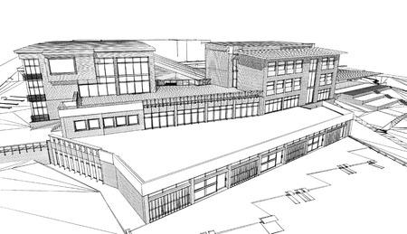 building sketch: Pencil sketch of a public building