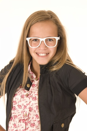 big smile: Young girl with white trendy glasses big smile Stock Photo