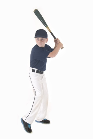 boy in batting stance looking for pitch Stock Photo