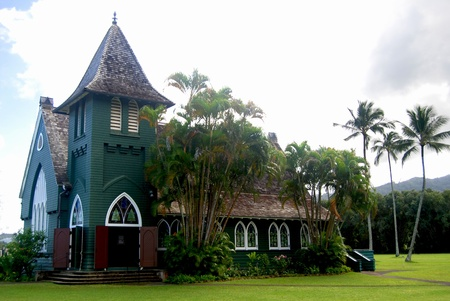 Chapel in Kauai Hawaii with coconut trees photo