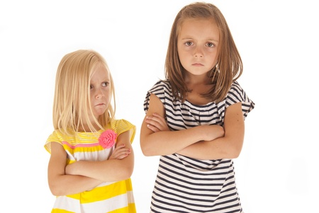 mad girl: two young girls angry at each other Stock Photo