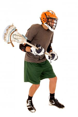 Male lacrosse player full uniform with stick   Stock Photo - 22661912