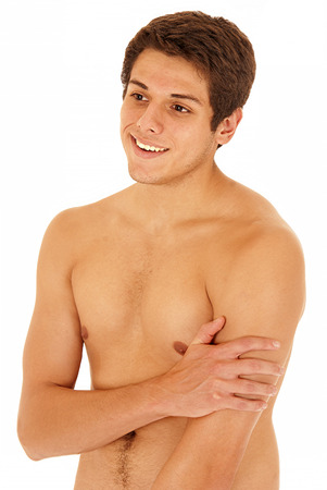 no shirt: Handsome young man without his shirt on