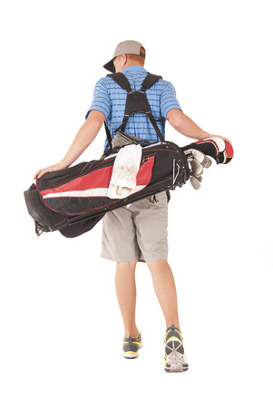 uomo alto: Uomo alto, con sacca da golf a piedi