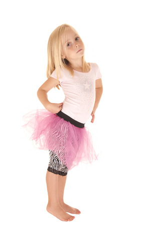pouty: Blond preschool girl in tutu pouty attitude Stock Photo