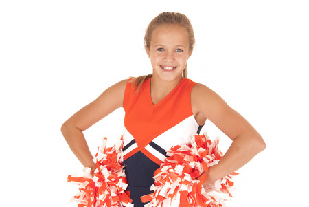 young cheerleader with pompoms from waist up Stock Photo
