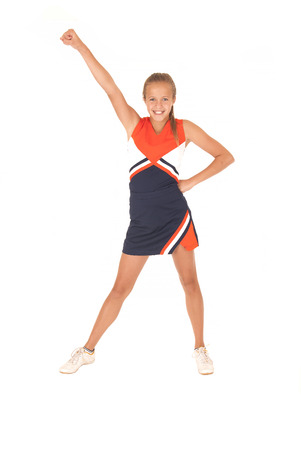 High school cheerleader cheering one hand up