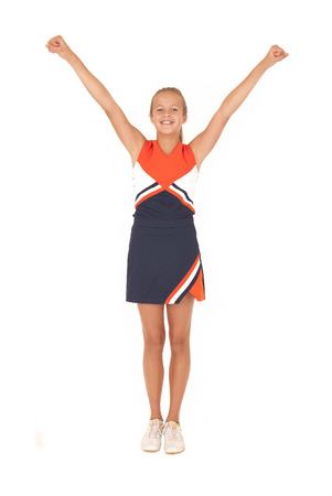 High school cheerleader cheering with no pompoms