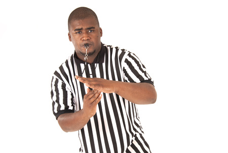 black referee calling time out or technical