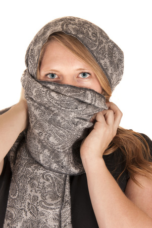 beautiful blue eyed woman in gray scarf photo