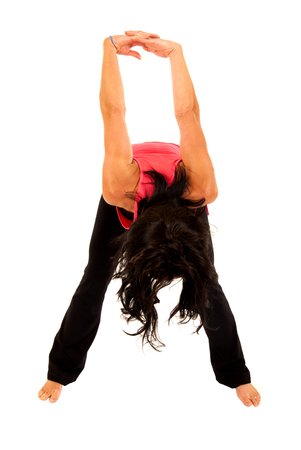leaning forward: fit young woman stretching arms leaning forward