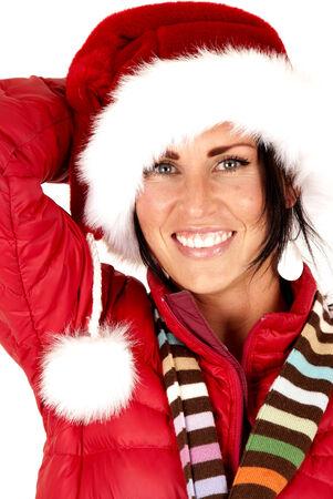 beautiful female model close up santa hat photo