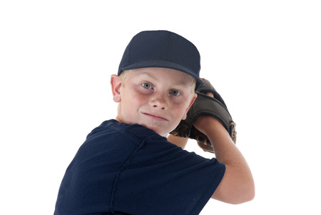 young baseball player portrait pitching left handed photo