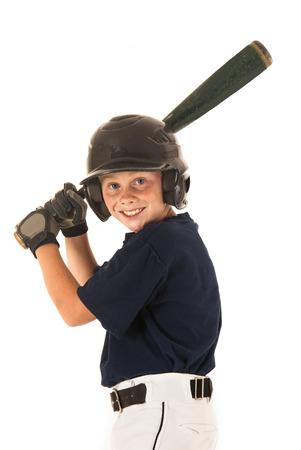 joven jugador de béisbol bateo diestro sonriendo Foto de archivo