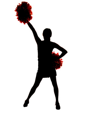 girl cheerleader silhouette with one hand up photo
