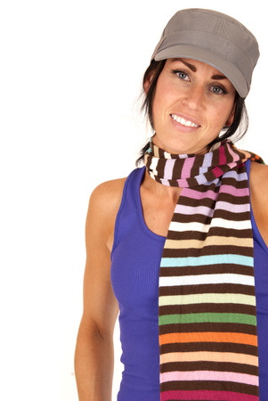 pretty female wearing hat and striped scarf photo