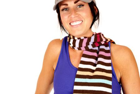 cute female with striped scarf around neck photo