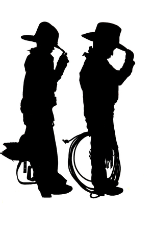 two young cowboys holding rope and saddle