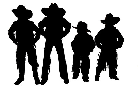Silhouette of boys wearing cowboy hats boots