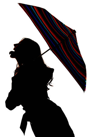 sexy tongue: Silhouette of woman with umbrella some color Stock Photo