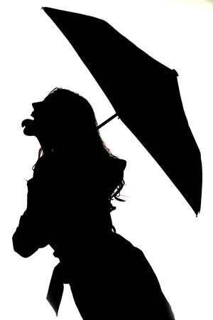 long tongue: Silhouette of woman sticking out tongue umbrella