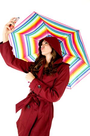 female model taking selfie with raincoat ubrella photo