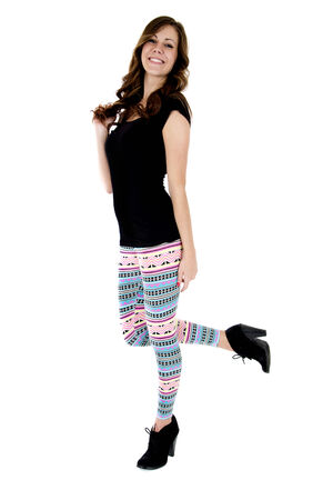 pretty model colorful leggings black high heels photo