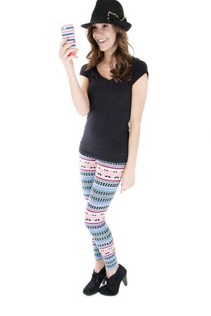 woman taking selfie wearing colorful leggings smiling photo