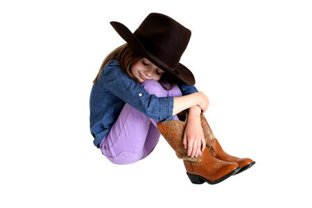 knees up: cute cowgirl with her knees up sleeping