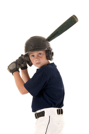 Young baseball player focused ready to bat photo