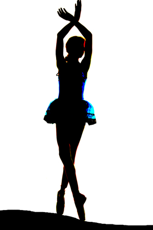 some color in silhouette of young ballerina photo