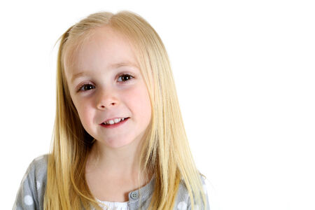 endearing: cute blond girl with endearing portrait look Stock Photo